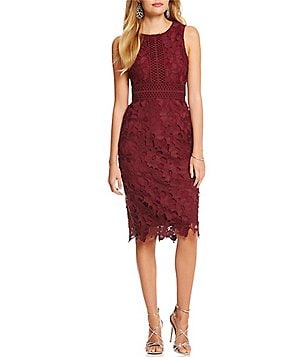 ERIN Erin Fetherston Liza Crochet Sheath Midi Dress