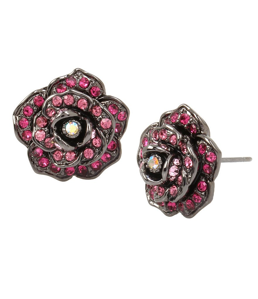 Betsey Johnson Pavé Rose Stud Earrings