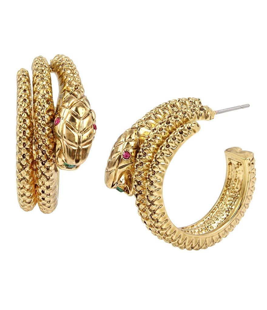 Betsey Johnson Snake Faux-Wrap Hoop Earrings