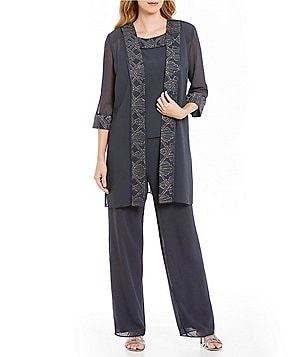 Le Bos 3-Piece Glitter-Trim Pant Set