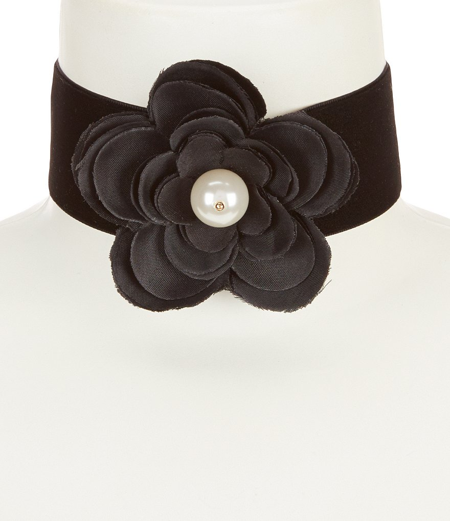 Anna & Ava Catherine Velvet & Pearl Flower Choker Necklace