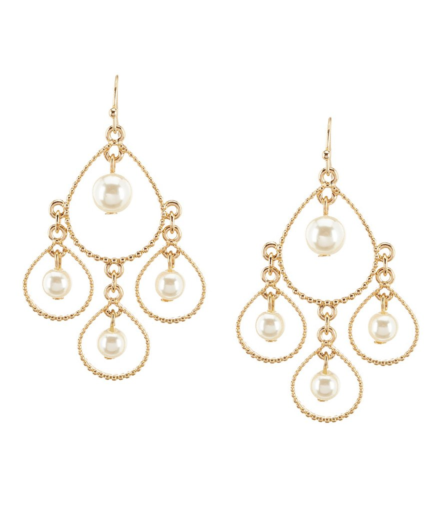 Anna & Ava Pearl Open Teardrop Chandelier Earrings