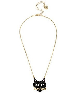 Betsey Johnson Pavé Black Cat Pendant Necklace