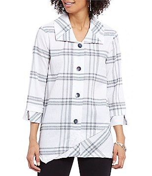 Ali Miles Point Collar Long Sleeve Button Front Plaid Jacket