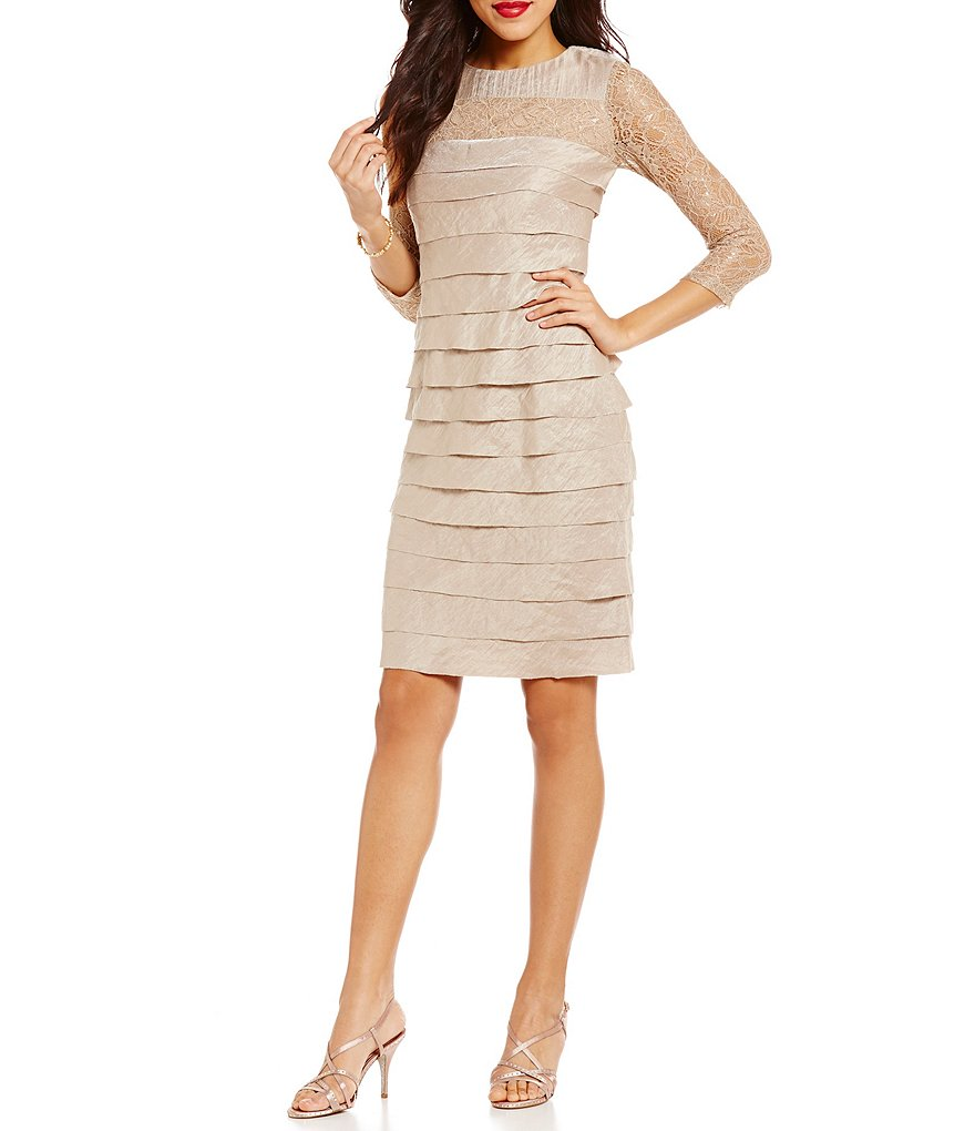 London Times Lace and Shimmer Layered Dress