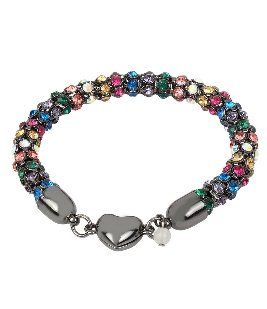 Betsey Johnson Mixed Faceted Stone Magnetic Bracelet