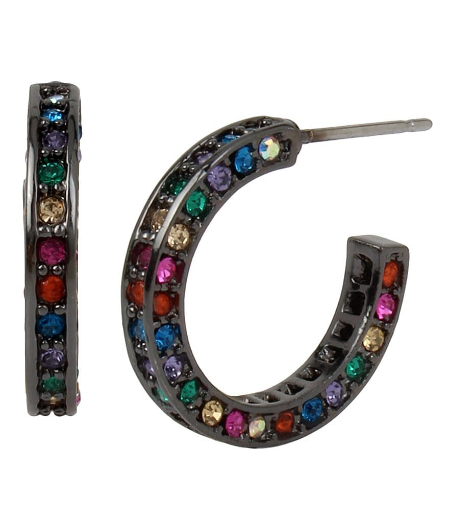 Betsey Johnson Pavé Mixed Stone Hoop Earrings