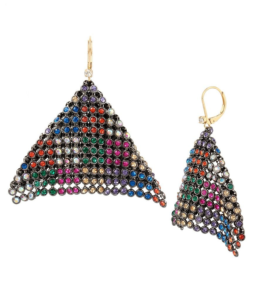 Betsey Johnson Mixed Stone Mesh Drop Statement Earrings