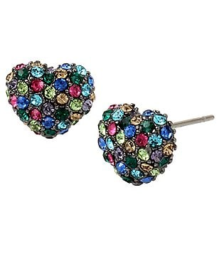 Betsey Johnson Pavé Heart Stud Earrings