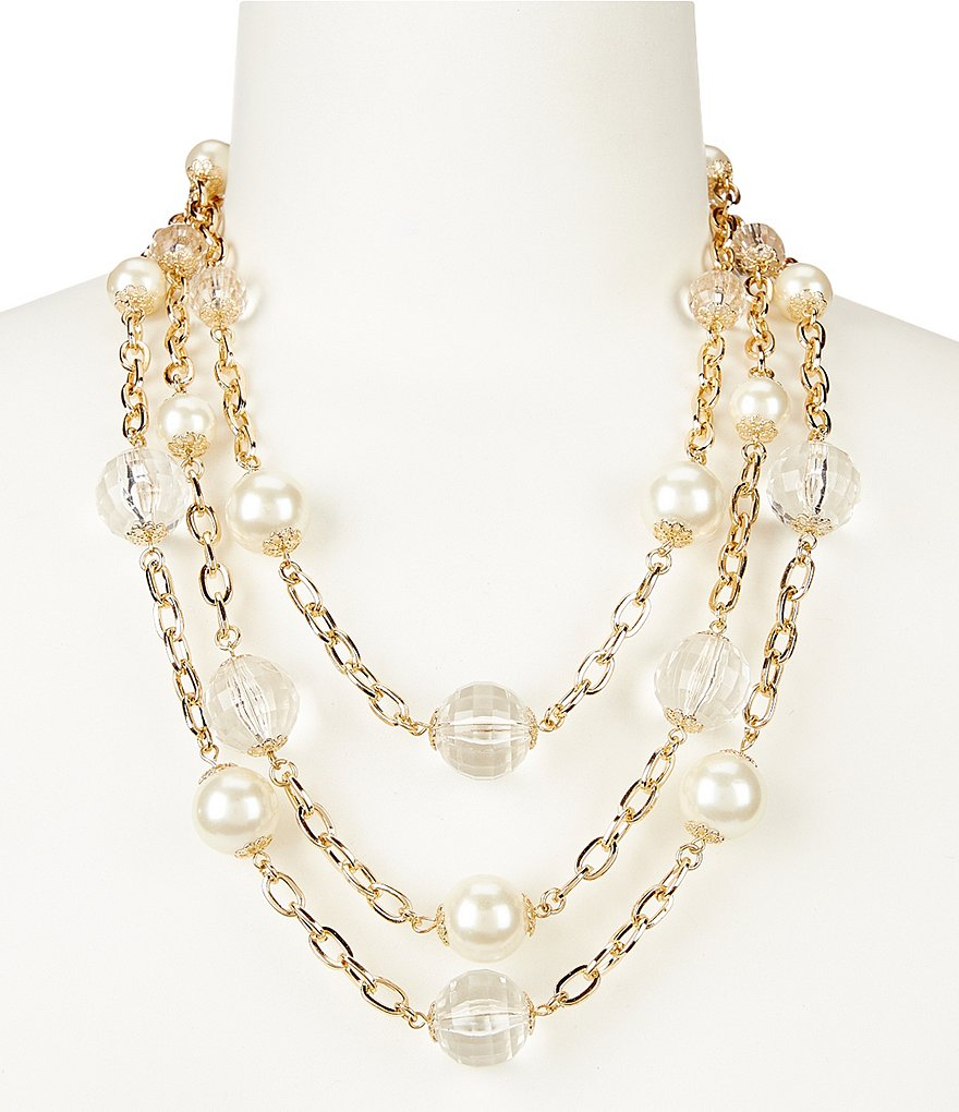 Anna & Ava Caitlyn Crystal & Pearl Multi-Strand Necklace