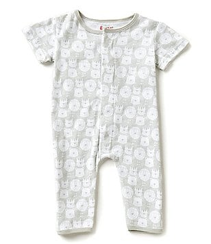 E=MC2 Baby Boys Newborn-9 Months Lions, Tigers and Bears Magnetic Closure Footed Coveralls