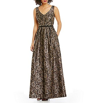 Ignite Evenings V-Neck Sleeveless Metallic Brocade Ballgown
