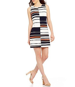 Adrianna Papell Mixed Stripe A-Line Dress