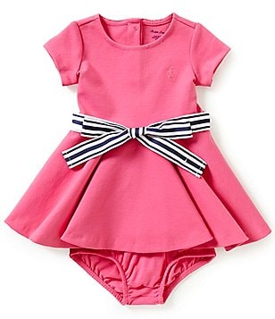 Ralph Lauren Childrenswear Baby Girls 3-24 Months Solid Ponte Fit-and-Flare Dress