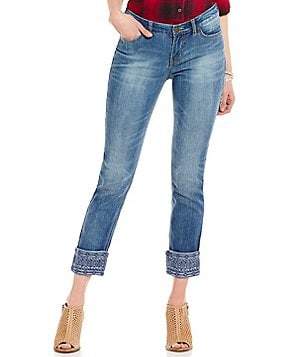 Code Bleu Petites Wildcat Roll-Cuff Embroidered Ankle Jeans