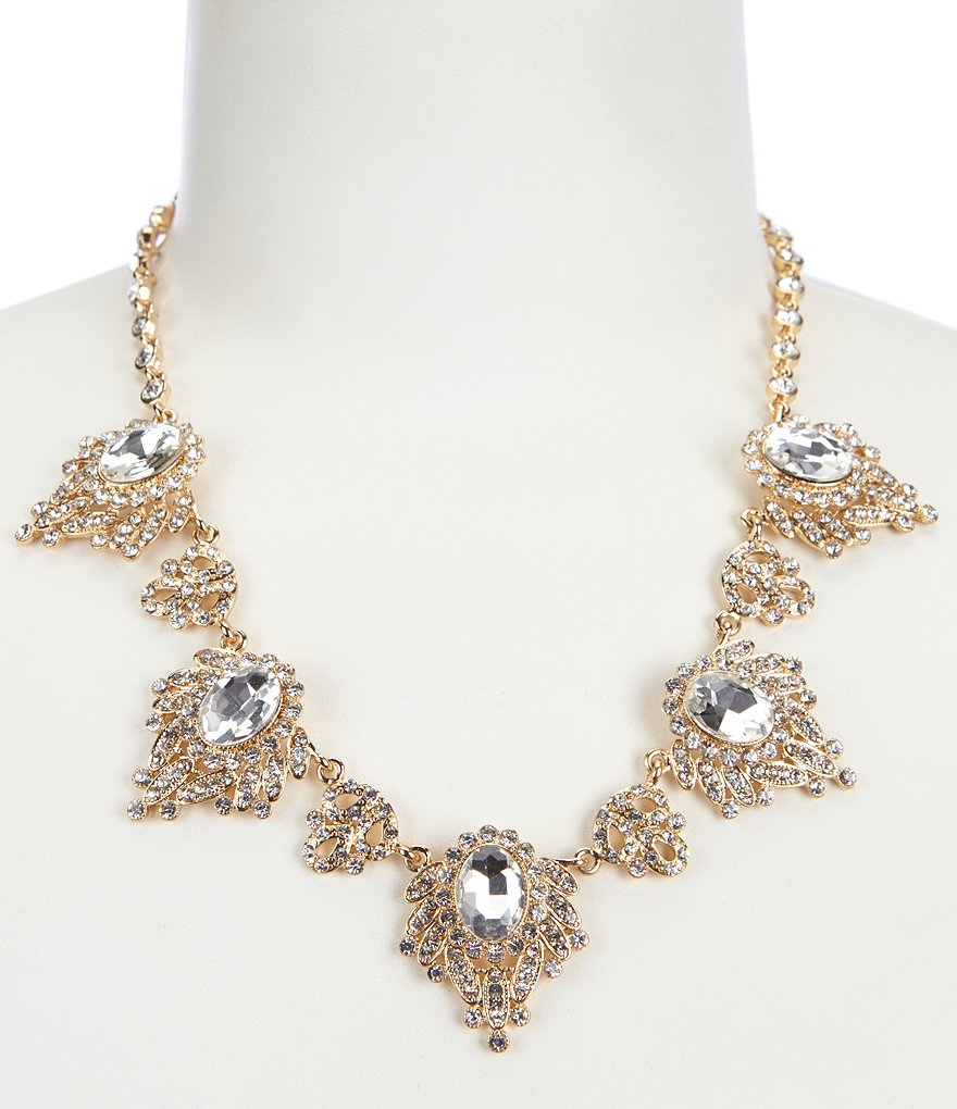 Natasha Accessories Spider Stone Frontal Necklace