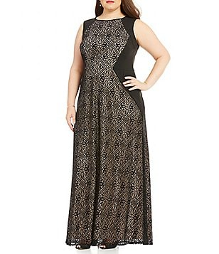 London Times Plus Sleeveless Tile Lace Gown