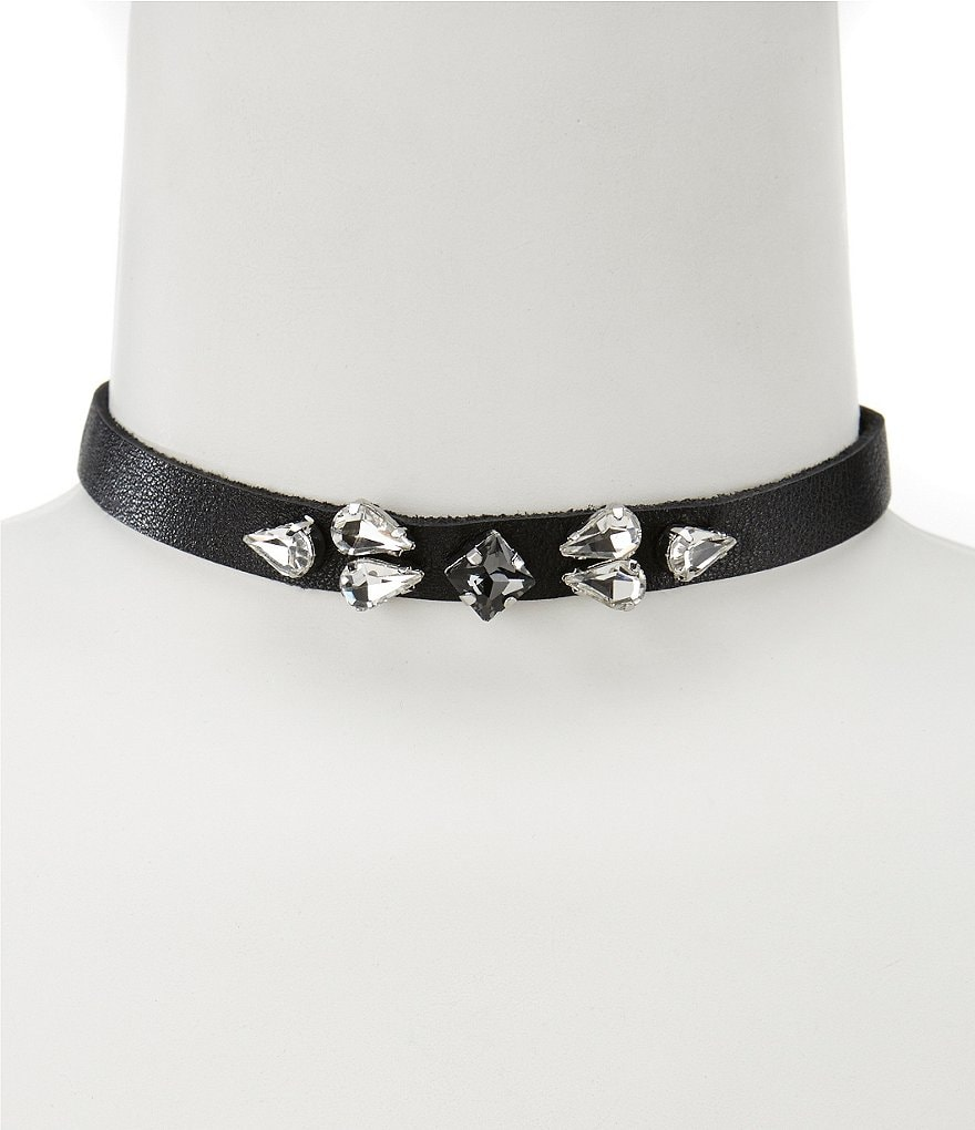 Natasha Accessories Leather Choker Necklace