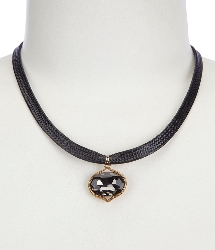 Natasha Accessories Dangling Stone Choker Necklace