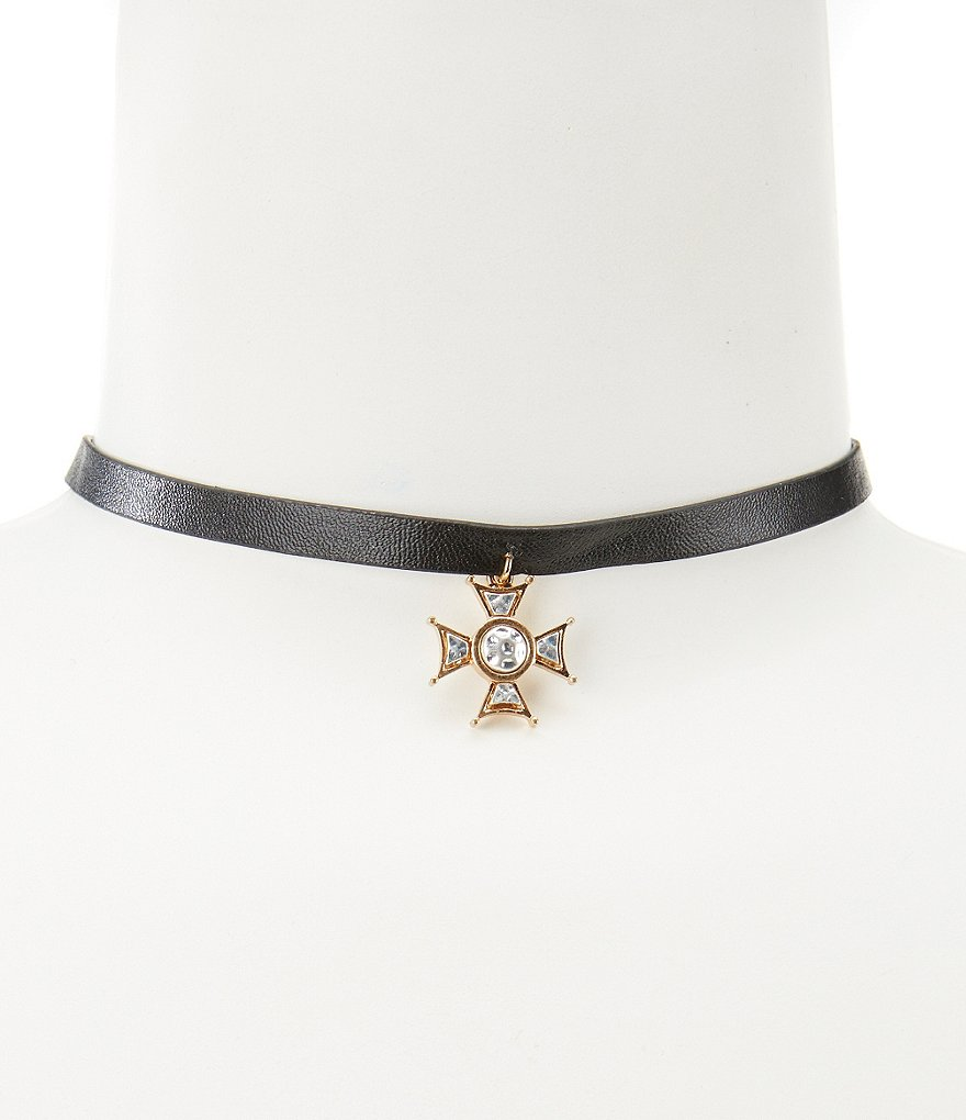 Natasha Accessories Dangling Cross Pendant Leather Choker Necklace