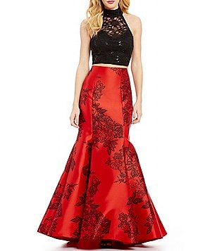 B. Darlin Lace Top & Printed Trumpet Skirt Two-Piece Long Dress