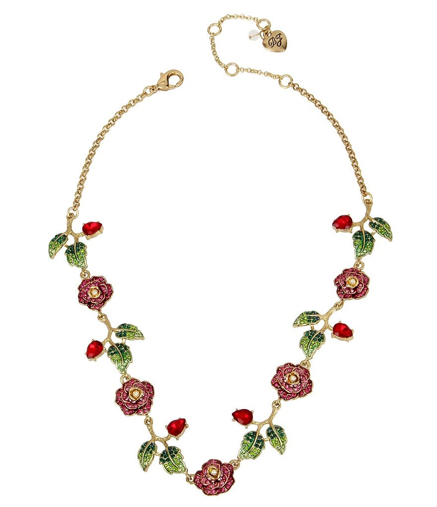 Betsey Johnson Pavé Rose Collar Necklace