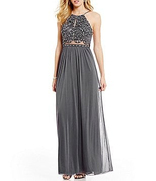 Blondie Nites Beaded Keyhole Bodice Illusion Waist Long Dress