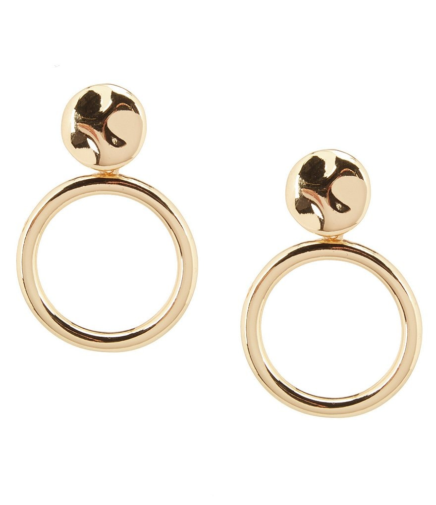 Kennedy Row Sculptural Disc Circle Drop Earrings
