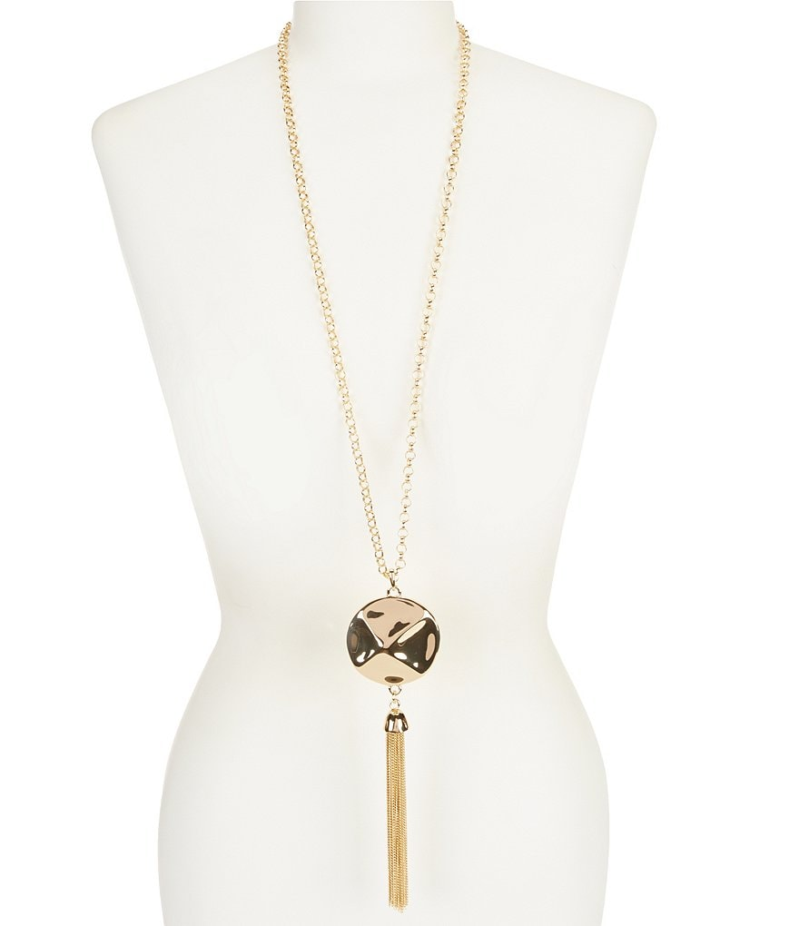 Kennedy Row Chain-Tasseled Sculptural Disc Long Pendant Necklace