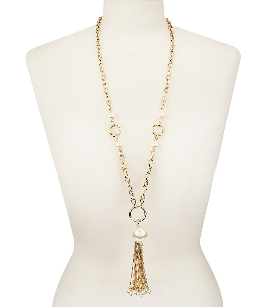 Dillard´s Tailored Pearl Link Tassel Necklace