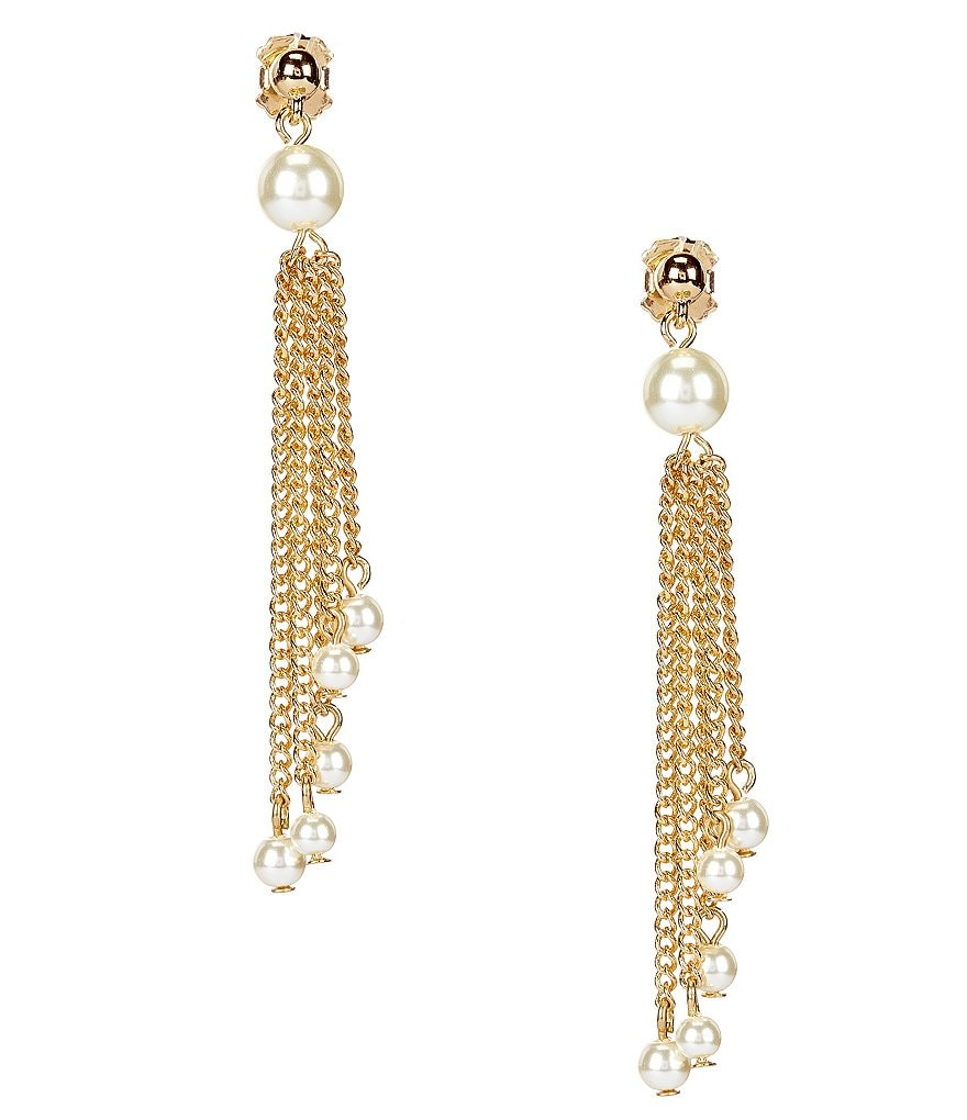 Dillard´s Tailored Pearl Chain-Tassel Earrings