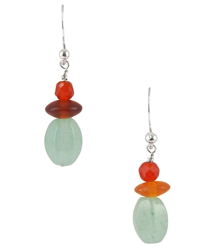 Barse Genuine Stone Drop Earrings