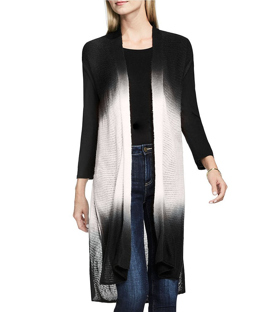 Two By Vince Camuto Dip-Dye Long Open Front Vest