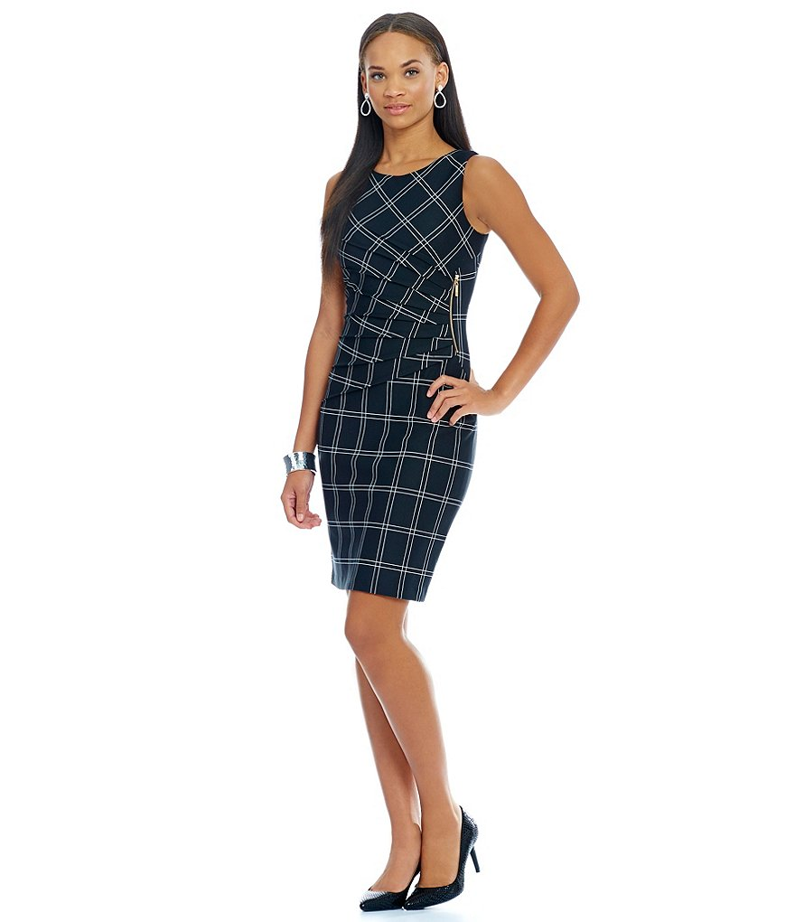 Ivanka Trump Sunburst Pleated Box Plaid Printed Scuba Crepe Knit Sheath Dress
