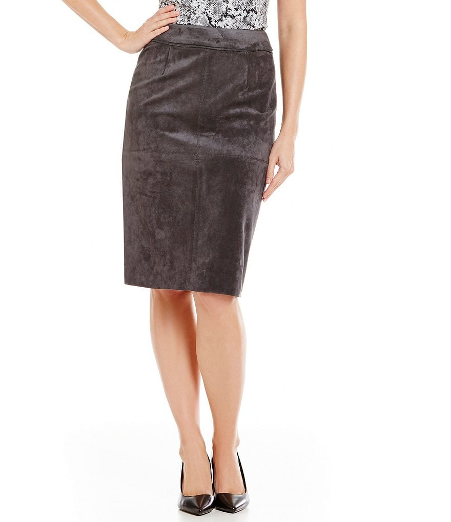 Calvin Klein Faux Suede Zipper Trim Pencil Skirt