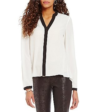 Jones New York Crepe de Chine Pleat Back Contrast Trim Top