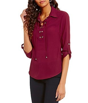 Jones New York Point Collar Roll-Tab Sleeve Hi-Low Hem Lace-Up Placket Top