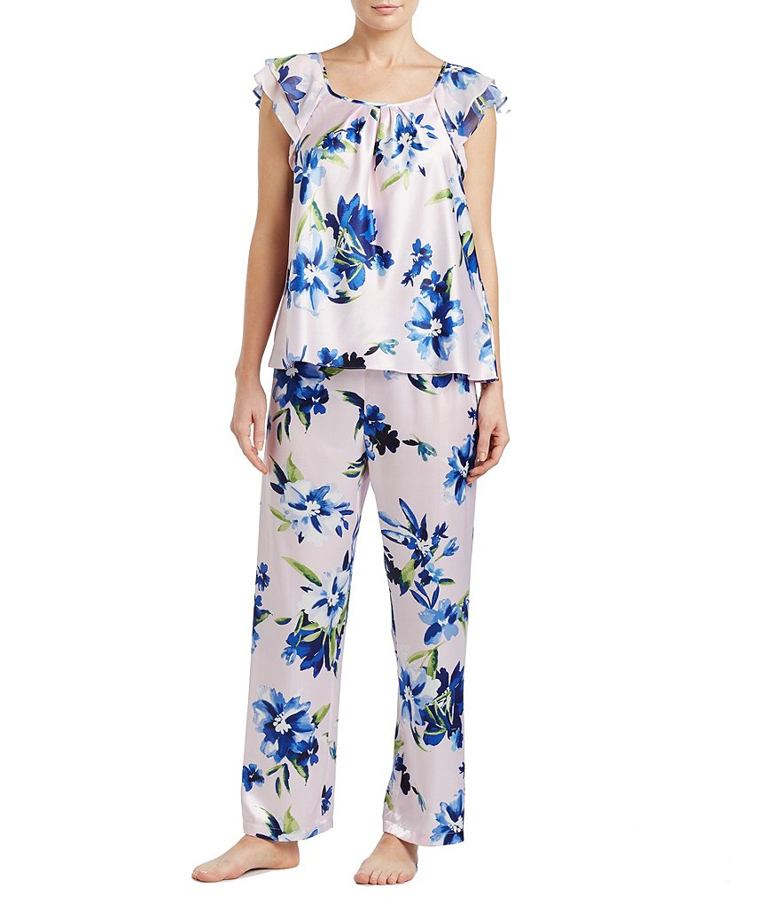 Oscar de la Renta Pink Label Sleepy in Satin Floral Pajamas