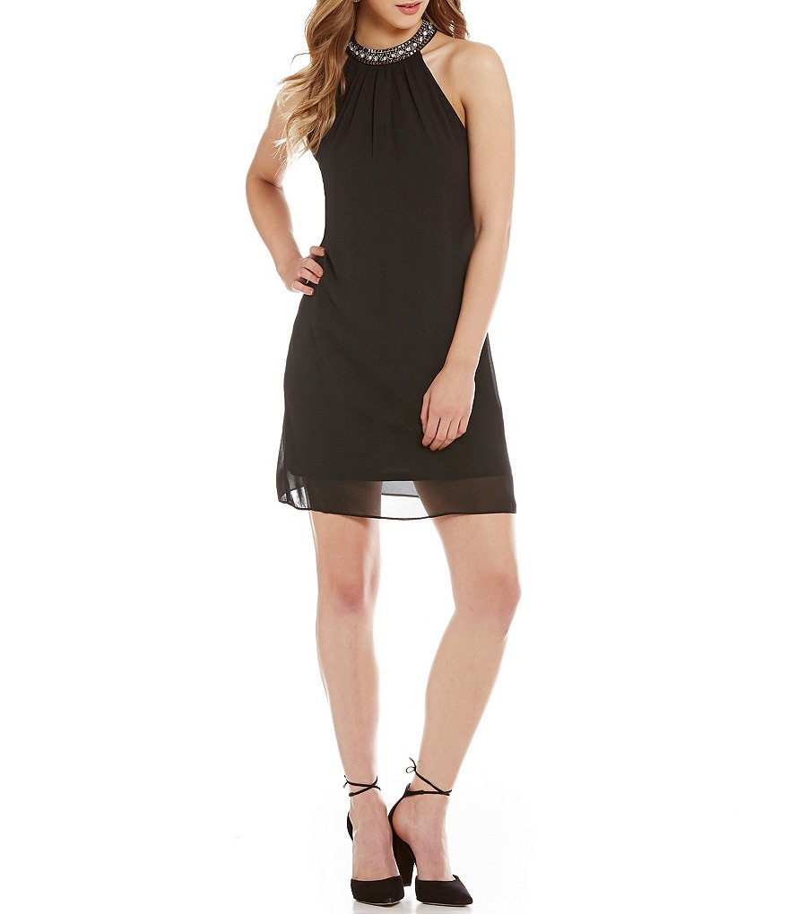 I.N. San Francisco Jeweled Neckline Shift Dress