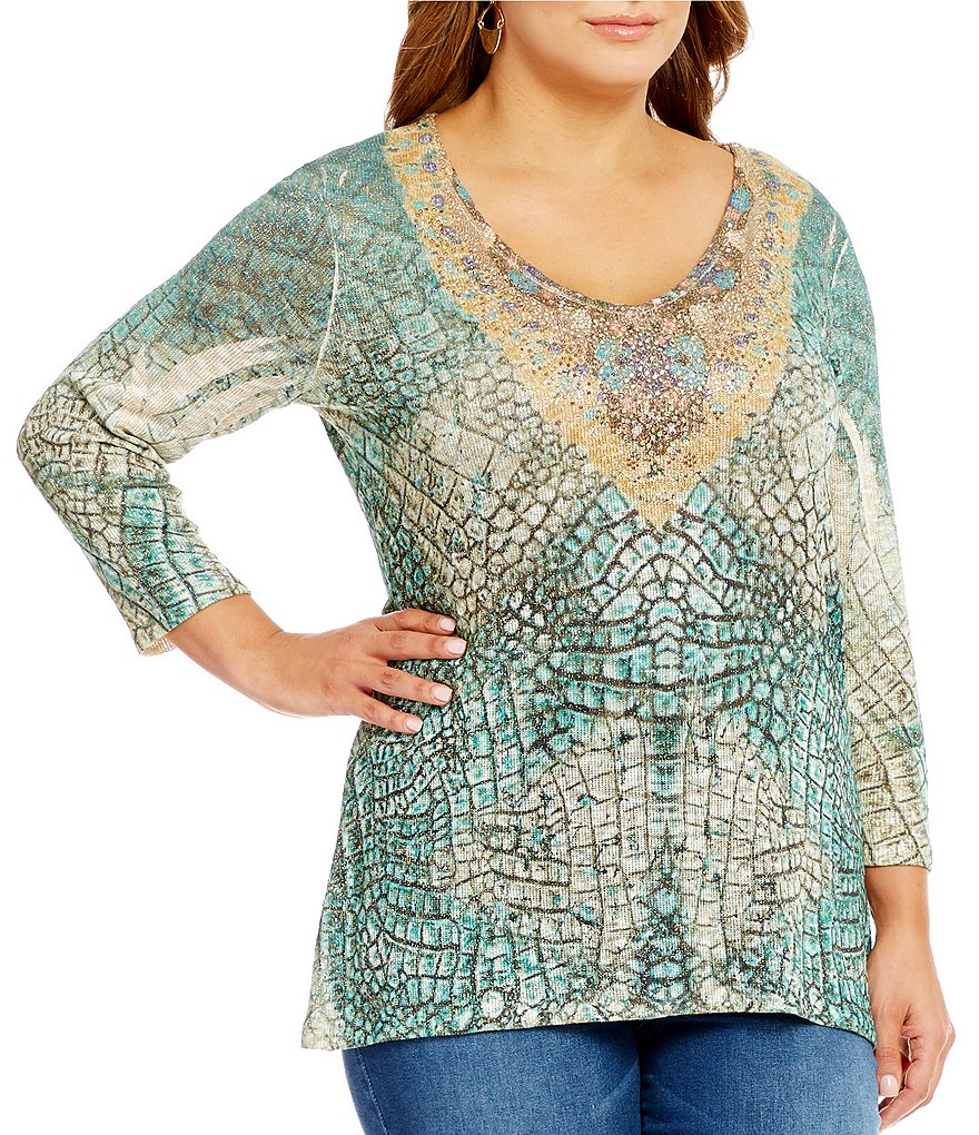 Reba Plus Embroidered Print Knit Top
