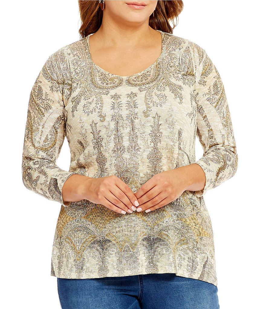 Reba Plus Metallic Printed Knit Top