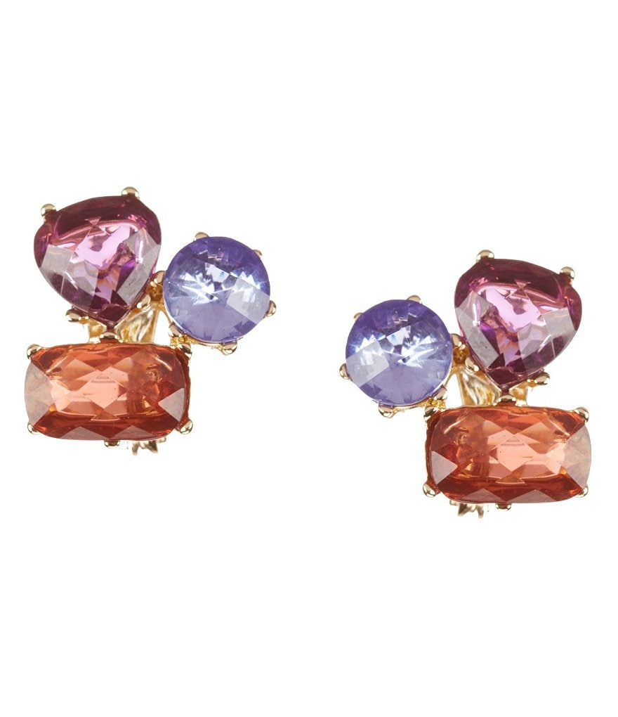 Anne Klein Multi-Stone Cluster Clip-On Earrings