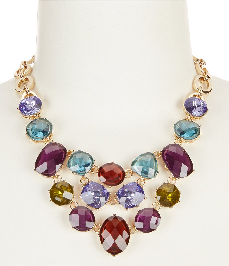 Anne Klein Multi-Stone Frontal Necklace