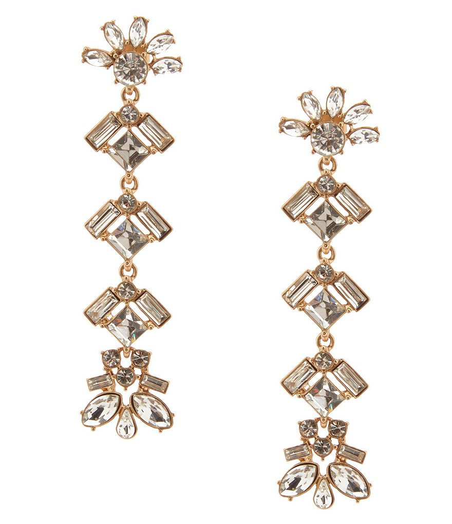 Belle Badgley Mischka Crystal Stone Linear Drop Statement Earrings