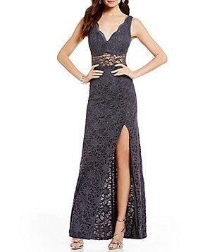 B. Darlin Illusion-Detailed Long Glitter Lace High-Slit Dress