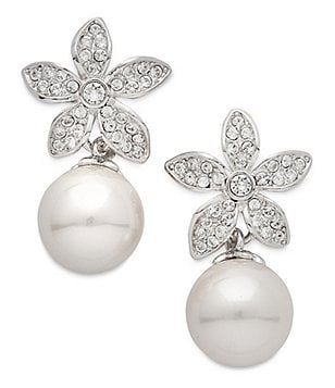Nina Faux-Pearl Floral Drop Earrings