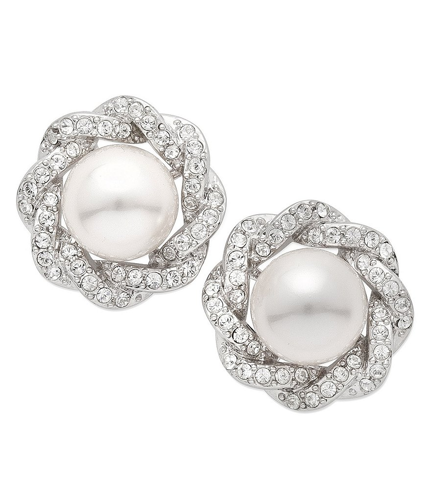 Nina Faux-Pearl & Swarovski Crystal Stud Earrings
