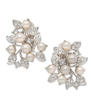 Nina Faux-Pearl & Swarovski Crystal Clip-On Stud Earrings