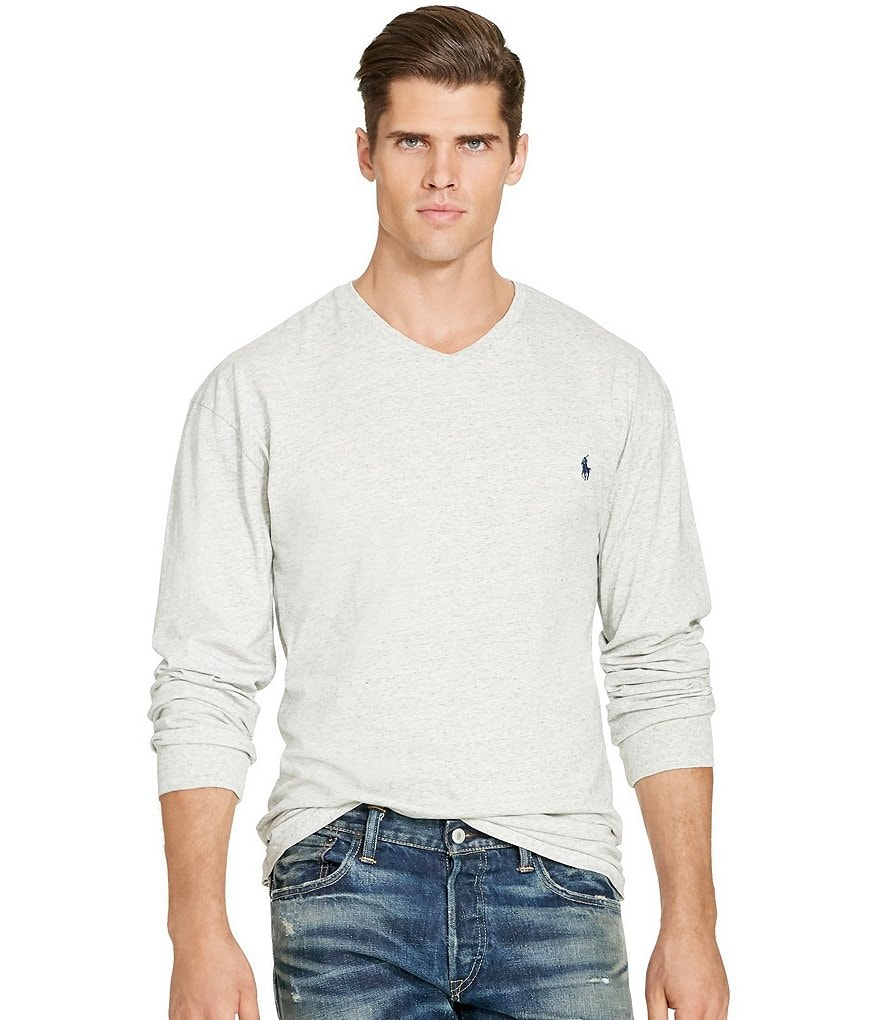 Polo Ralph Lauren Big & Tall Cotton Jersey V-Neck Long-Sleeve Tee