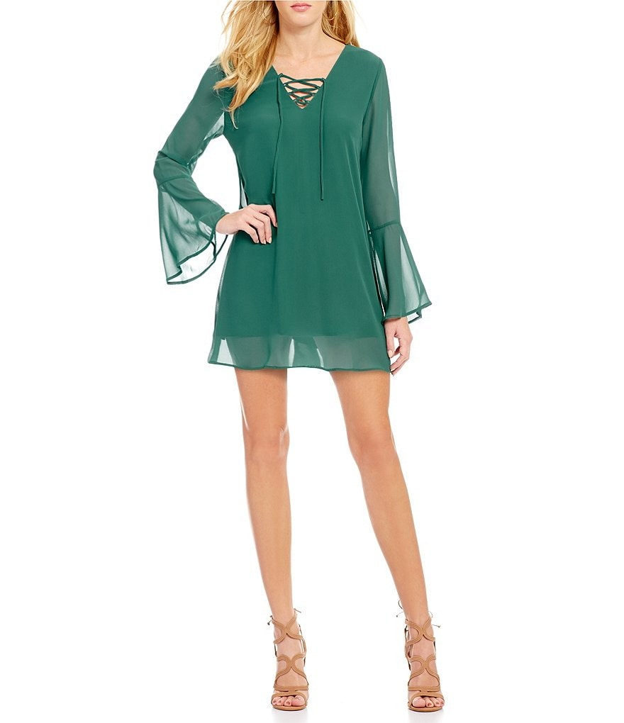 Collective Concepts Bell Sleeve Lace Up Dress